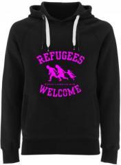 """Zum Fairtrade Pullover """"Refugees welcome (pink)"""" für 40,00 € gehen."""