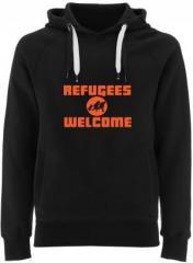 """Zum Fairtrade Pullover """"Refugees welcome (Quer)"""" für 38,99 € gehen."""
