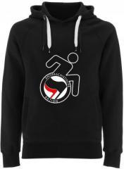 """Zum Fairtrade Pullover """"RollifahrerIn Antifaschistische Aktion (schwarz/rot)"""" für 38,99 € gehen."""