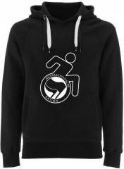 """Zum Fairtrade Pullover """"RollifahrerIn Antifaschistische Aktion (schwarz/schwarz)"""" für 40,00 € gehen."""