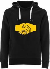 """Zum Fairtrade Pullover """"Sozialistischer Handschlag"""" für 40,00 € gehen."""