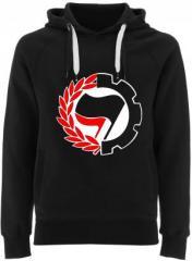"""Zum Fairtrade Pullover """"Working Class Antifa"""" für 40,00 € gehen."""