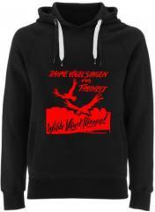 """Zum Fairtrade Pullover """"Zahme Vögel singen von Freiheit. Wilde Vögel fliegen! (rot)"""" für 38,99 € gehen."""