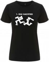 """Zum/zur  tailliertes Fairtrade T-Shirt """"1. Mai Nazifrei"""" für 17,55 € gehen."""