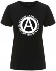 """Zum/zur  tailliertes Fairtrade T-Shirt """"Abolish Capitalism - Smash The State"""" für 18,00 € gehen."""