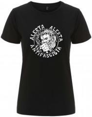 """Zum/zur  tailliertes Fairtrade T-Shirt """"Alerta Alerta Antifascista"""" für 18,00 € gehen."""