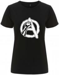 """Zum/zur  tailliertes Fairtrade T-Shirt """"Anarchie Faust"""" für 17,55 € gehen."""