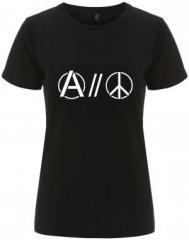 """Zum/zur  tailliertes Fairtrade T-Shirt """"Anarchy and Peace"""" für 18,00 € gehen."""