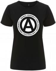 """Zum/zur  tailliertes Fairtrade T-Shirt """"Animal-Friendly - Anti-Fascist - Gay Positive - Pro Feminist"""" für 18,00 € gehen."""