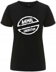 """Zum/zur  tailliertes Fairtrade T-Shirt """"Animal Liberation"""" für 18,00 € gehen."""