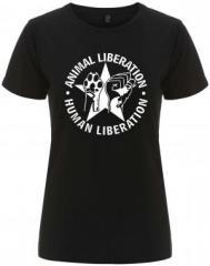 """Zum/zur  tailliertes Fairtrade T-Shirt """"Animal Liberation - Human Liberation (mit Stern)"""" für 18,00 € gehen."""