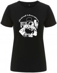 """Zum/zur  tailliertes Fairtrade T-Shirt """"Animal Liberation (Hund)"""" für 18,00 € gehen."""