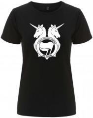 """Zum/zur  tailliertes Fairtrade T-Shirt """"Antifa Einhorn Brigade"""" für 17,55 € gehen."""