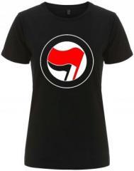 """Zum/zur  tailliertes Fairtrade T-Shirt """"Antifa Logo (rot/schwarz, ohne Schrift)"""" für 18,00 € gehen."""