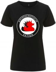 """Zum/zur  tailliertes Fairtrade T-Shirt """"Antifaschistische Aktion (Enten)"""" für 18,00 € gehen."""