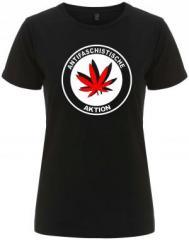 """Zum/zur  tailliertes Fairtrade T-Shirt """"Antifaschistische Aktion (Hanfblatt)"""" für 17,55 € gehen."""