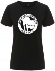 """Zum/zur  tailliertes Fairtrade T-Shirt """"Antifaschistische Aktion (Original von 1932 in weiß)"""" für 17,55 € gehen."""