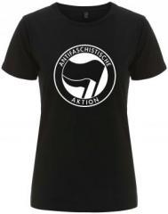 """Zum/zur  tailliertes Fairtrade T-Shirt """"Antifaschistische Aktion (schwarz/schwarz)"""" für 18,00 € gehen."""
