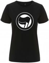 """Zum/zur  tailliertes Fairtrade T-Shirt """"Antifaschistische Aktion (schwarz/schwarz) ohne Schrift"""" für 18,00 € gehen."""