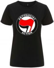 """Zum/zur  tailliertes Fairtrade T-Shirt """"Antifascist Action (rot/schwarz)"""" für 18,00 € gehen."""