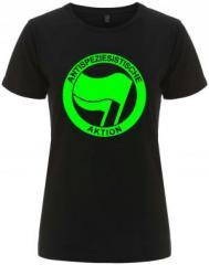 """Zum/zur  tailliertes Fairtrade T-Shirt """"Antispeziesistische Aktion (grün/grün)"""" für 17,55 € gehen."""