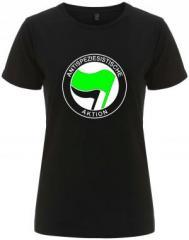 """Zum/zur  tailliertes Fairtrade T-Shirt """"Antispeziesistische Aktion (grün/schwarz)"""" für 18,00 € gehen."""