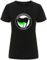 """Zum/zur  tailliertes Fairtrade T-Shirt """"Antispeziesistische Aktion (schwarz/grün)"""" für 18,00 € gehen."""
