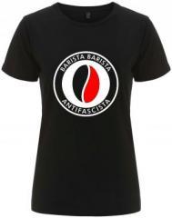 """Zum/zur  tailliertes Fairtrade T-Shirt """"Barista Barista Antifascista (Bohne)"""" für 18,00 € gehen."""