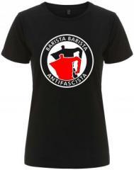 """Zum/zur  tailliertes Fairtrade T-Shirt """"Barista Barista Antifascista (Moka)"""" für 18,00 € gehen."""
