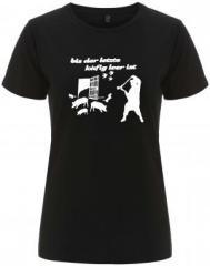 """Zum/zur  tailliertes Fairtrade T-Shirt """"Bis der letzte Käfig leer ist"""" für 18,00 € gehen."""