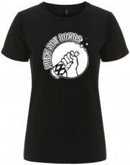 """Zum/zur  tailliertes Fairtrade T-Shirt """"Brew not Bombs"""" für 17,55 € gehen."""