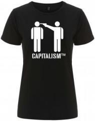 """Zum/zur  tailliertes Fairtrade T-Shirt """"Capitalism [TM]"""" für 17,55 € gehen."""