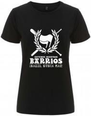 """Zum/zur  tailliertes Fairtrade T-Shirt """"Defiende nuestros Barrios"""" für 17,55 € gehen."""