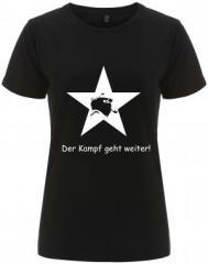 """Zum/zur  tailliertes Fairtrade T-Shirt """"Der Kampf geht weiter!"""" für 18,00 € gehen."""