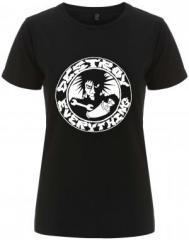 """Zum/zur  tailliertes Fairtrade T-Shirt """"destroy everything"""" für 17,55 € gehen."""