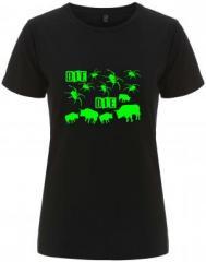 """Zum/zur  tailliertes Fairtrade T-Shirt """"Die Spinnen Die Bullen (grün)"""" für 18,00 € gehen."""