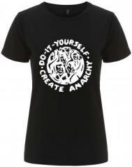 """Zum/zur  tailliertes Fairtrade T-Shirt """"do it yourself - create anarchy"""" für 18,00 € gehen."""