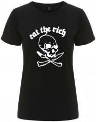 """Zum/zur  tailliertes Fairtrade T-Shirt """"Eat the rich (Totenkopf)"""" für 17,55 € gehen."""