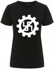 """Zum/zur  tailliertes Fairtrade T-Shirt """"EBM gegen Nazis"""" für 18,00 € gehen."""