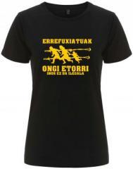 "Zum/zur  tailliertes Fairtrade T-Shirt ""Errefuxiatuak Ongi Etorri"" für 18,00 € gehen."