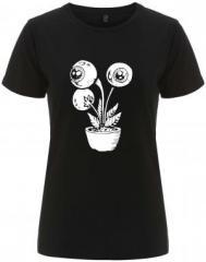"""Zum/zur  tailliertes Fairtrade T-Shirt """"Eyeflower"""" für 17,55 € gehen."""