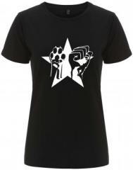 """Zum/zur  tailliertes Fairtrade T-Shirt """"Faust und Pfote - Stern"""" für 18,00 € gehen."""