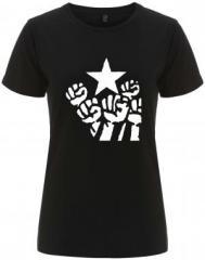 """Zum/zur  tailliertes Fairtrade T-Shirt """"Fist and Star"""" für 18,00 € gehen."""