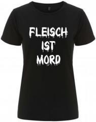 """Zum/zur  tailliertes Fairtrade T-Shirt """"Fleisch ist Mord"""" für 18,00 € gehen."""