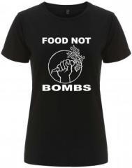 """Zum/zur  tailliertes Fairtrade T-Shirt """"Food Not Bombs"""" für 18,00 € gehen."""