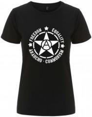 """Zum/zur  tailliertes Fairtrade T-Shirt """"Freedom - Equality - Anarcho - Communism"""" für 18,00 € gehen."""