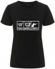 """Zum/zur  tailliertes Fairtrade T-Shirt """"Freiheit - Wahrheit - Sicherheit"""" für 18,00 € gehen."""