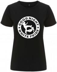 """Zum/zur  tailliertes Fairtrade T-Shirt """"Good Night White Pride (dicker Rand)"""" für 18,00 € gehen."""