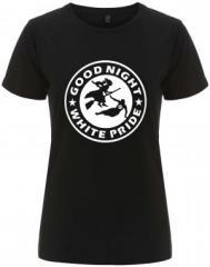 """Zum/zur  tailliertes Fairtrade T-Shirt """"Good night white pride - Hexe"""" für 18,00 € gehen."""
