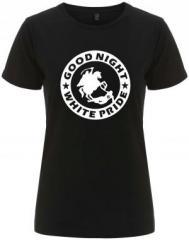 """Zum/zur  tailliertes Fairtrade T-Shirt """"Good night white pride - Reiter"""" für 18,00 € gehen."""